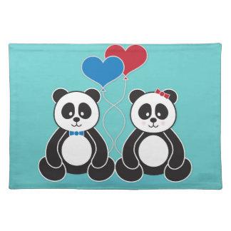 Sweet pandas in love placemats