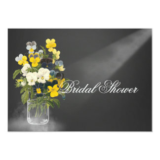 Sweet Pansy in Masons Jar 5x7 Paper Invitation Card