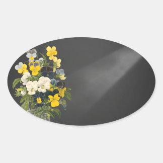Sweet Pansy in Masons Jar Oval Sticker
