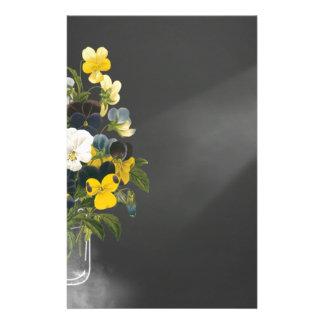 Sweet Pansy in Masons Jar Customized Stationery