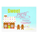 Sweet party gingerbread house holiday invitation