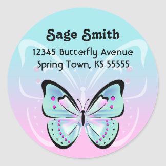 Sweet Pastel Butterfly Address Label Classic Round Sticker