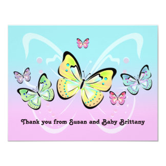 Sweet Pastel Butterfly Note Card Custom Invitations