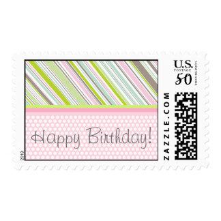 Sweet Pastels Pink Garden Stripes Birthday Party Postage
