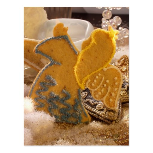 Sweet pastry angel with sugar decoration postcard