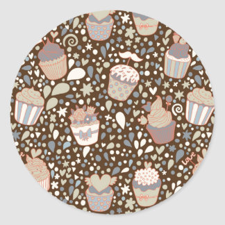Sweet  pattern made of tasty cupcakes classic round sticker