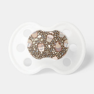 Sweet  pattern made of tasty cupcakes pacifier