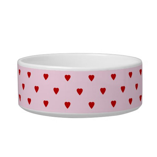 Sweet pattern of red hearts on pink. cat food bowl