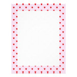 Sweet pattern of red hearts on pink. personalized letterhead