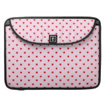Sweet pattern of red hearts on pink. MacBook pro sleeve