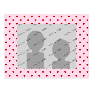 Sweet pattern of red hearts on pink. postcard