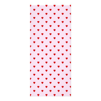 Sweet pattern of red hearts on pink. customized rack card