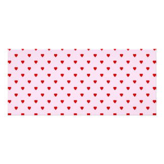 Sweet pattern of red hearts on pink. personalized rack card
