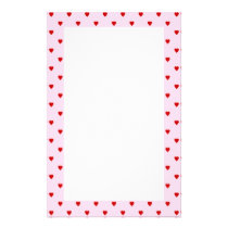 Sweet pattern of red hearts on pink. stationery