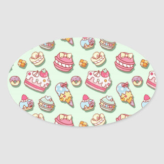 Sweet pattern oval sticker