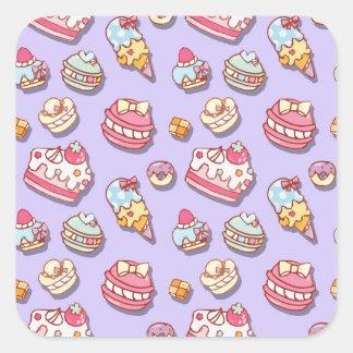 Sweet pattern square sticker
