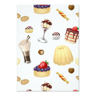 Sweet pattern with various desserts. card