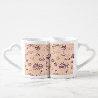 Sweet pattern with various desserts. coffee mug set