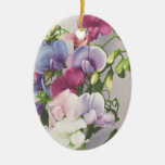 Sweet Pea 1907 Double-Sided Oval Ceramic Christmas Ornament