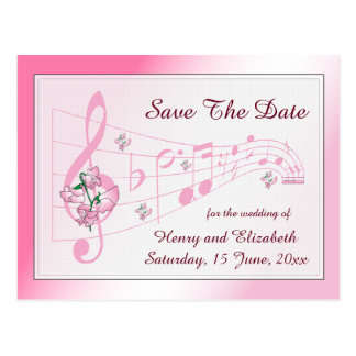 Sweet Pea and Music Save The Date Card