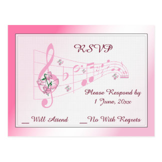 Sweet Pea and Music Wedding RSVP Card