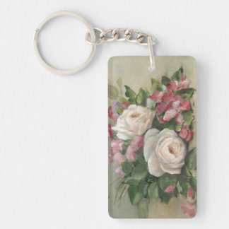 Sweet Pea and Rose Bouquet Rectangular Acrylic Key Chain