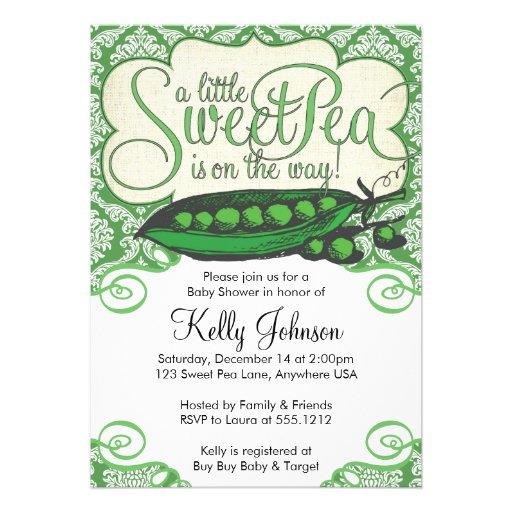 Sweet Pea Baby Shower Invitation