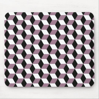 Sweet Pea, Black & White 3D Cubes Pattern Mouse Pad