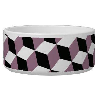 Sweet Pea, Black & White 3D Cubes Pattern Pet Water Bowl