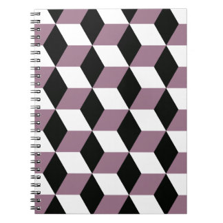 Sweet Pea, Black & White 3D Cubes Pattern Spiral Notebook