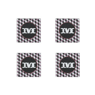 Sweet Pea, Black & White 3D Cubes Pattern Stone Magnet
