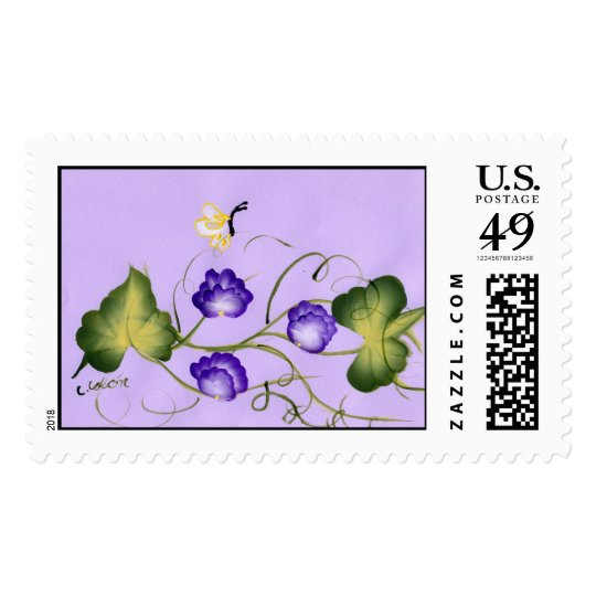 Sweet Pea Blossom and Butterfly Postage Stamp