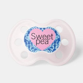 """""""Sweet Pea"""" Damask Baby Girl Pacifier"""