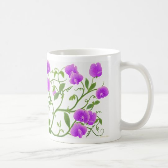 Sweet Pea Flower Vines Mug