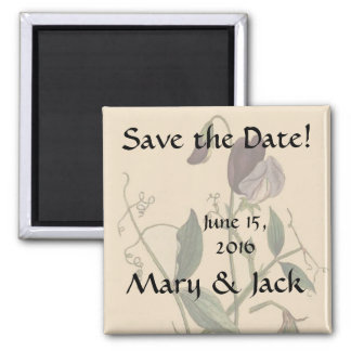 Sweet Pea Flowers Floral Save the Date Magnet