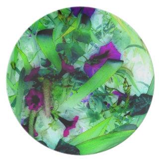 Sweet Pea Flowers in Jungle Garden Art Photo Dinner Plates