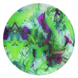 Sweet Pea Flowers in Jungle Garden Art Photo Plate