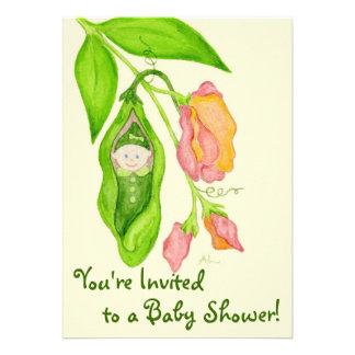 Sweet Pea Girl Baby Shower Invitation