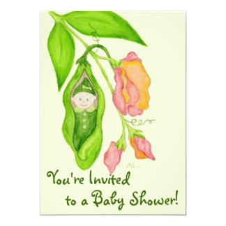 "Sweet Pea Girl Baby Shower Invitation 5"" X 7"" Invitation Card"