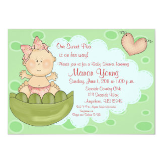 "Sweet Pea Girls Baby Shower Invitation 5"" X 7"" Invitation Card"