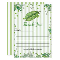 Sweet Pea Green Whimsical Baby Shower Thank You Card