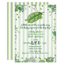 Sweet Pea Green Whimsical Polka Dot Baby Shower Card