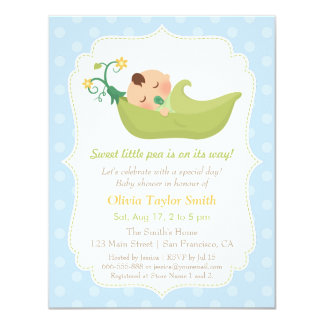 Sweet Pea in a Pod Baby Boy Shower Invitations