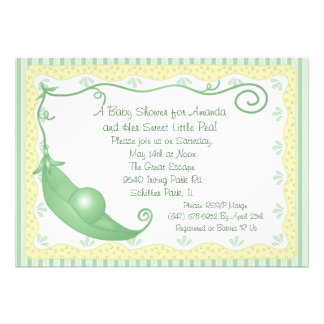 Sweet pea in a Pod Baby Shower Invitations