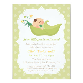 Sweet Pea in a Pod Boy Baby Shower Invitations