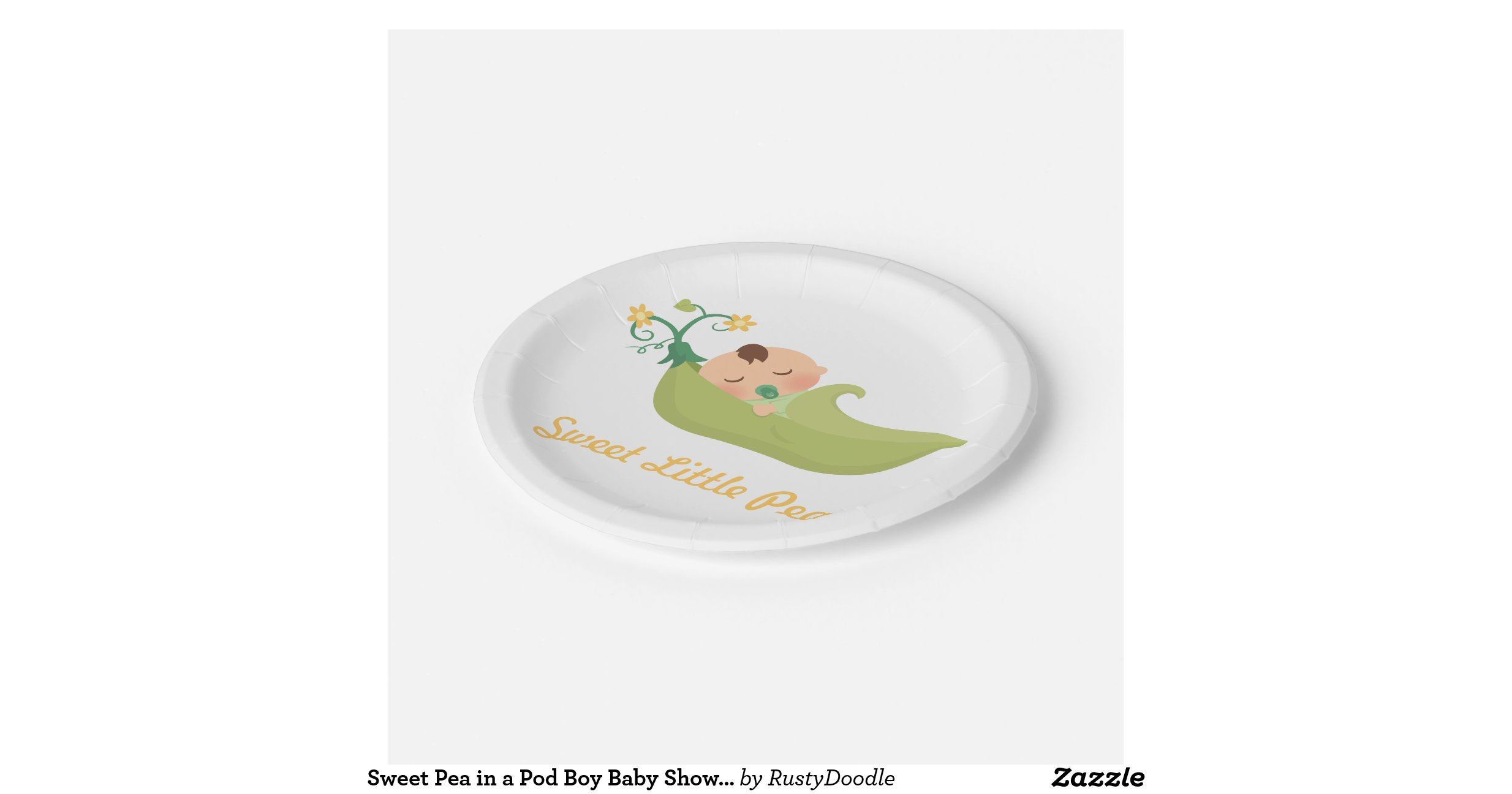 sweet pea in a pod boy baby shower party supplies 7 inch paper plate