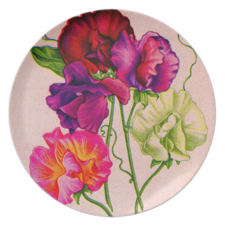 sweet pea in purple and pink plate