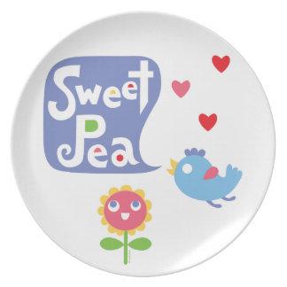 Sweet Pea Love - melamine plate
