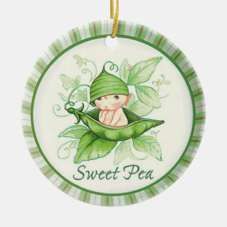 Sweet Pea Double-Sided Ceramic Round Christmas Ornament