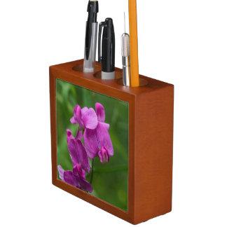 Sweet Pea Pink Wildflowers Floral Desk Organizer